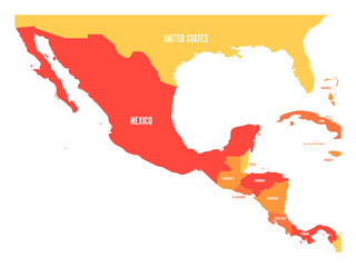 Wall Mural - Political map of Central America and Mexico in four shades of orange. Simple flat vector illustration.