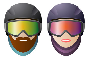 Front view, man and woman snowboarders, classic glasses and helmet. Vector isolated on white background