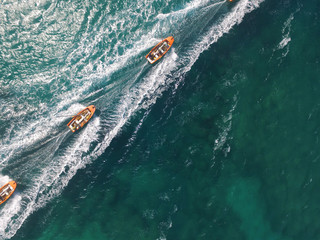 drone view of boats sailing