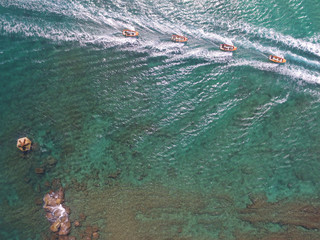 Drone view of boats
