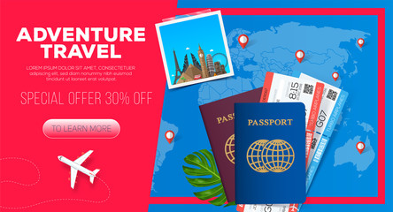 Adventure travel banner. Business trip. Passport with tickets.  Business travel illustration. 30% off.