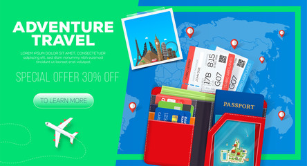 Adventure travel banner. Business trip. Passport with wallet and tickets. Business travel illustration. 30% off.