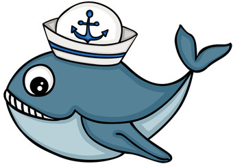 Cute whale with sailor hat