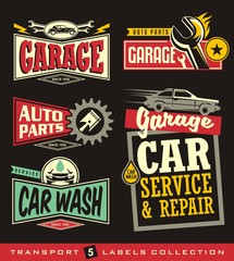 Car labels, signs, emblems, logos and stickers collection.