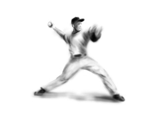 Hand drawing baseball player. Digital illustration