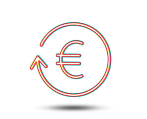 Euro Money exchange line icon. Banking currency sign. EUR Cash symbol. Colourful graphic design. Vector