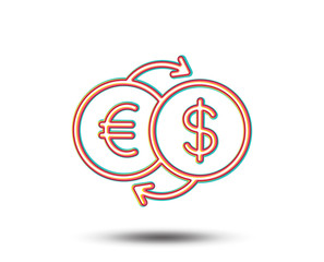 Money exchange line icon. Banking currency sign. Euro and Dollar Cash transfer symbol. Colourful graphic design. Vector
