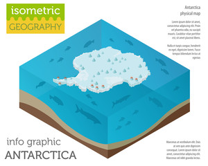 Isometric 3d Antarctica physical map elements. Build your own geography info graphic collection