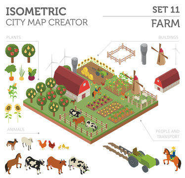 Flat 3d isometric farm land and city map constructor elements isolated on white. Build your own infographic collection