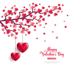 Valentine tree with heart shaped leaves