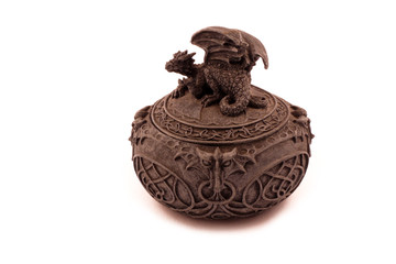 Dragon Jewelry Box stock images. Dragon container on a white background. Decorative box with a dragon
