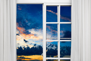 otwarte okno chmura słońce