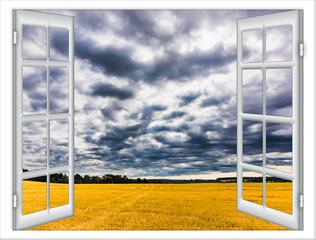krajobraz natura z okna z zasłonami