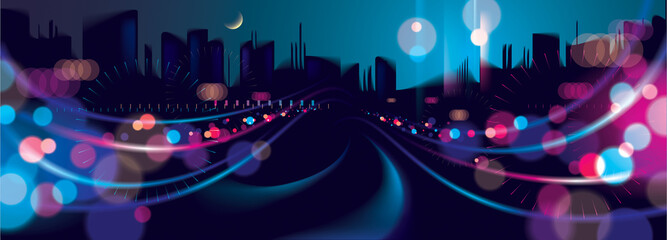 Wide panorama big city nightlife with street lamps and bokeh blurred lights. Effect vector beautiful background. Blur colorful dark background with cityscape, buildings silhouettes skyline.