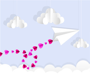 Origami paper plane. Dash line in the sky. Love card. Vector