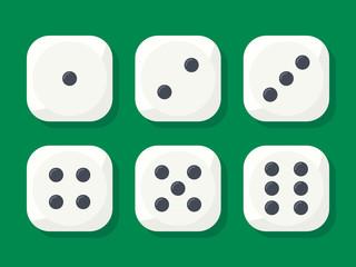 Craps. White dice vector illustration
