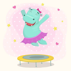 Happy cartoon hippo girl character jumping on a trampoline. Vect