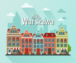 Vector illustration of Warsaw, Poland city. Flat design.
