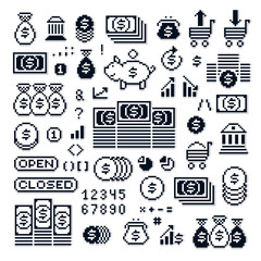 Set of vector retro signs made in pixel art style. Economics and investment theme geometric pixilated symbols.