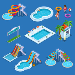 Water park and swimming pool isometric vector illustration
