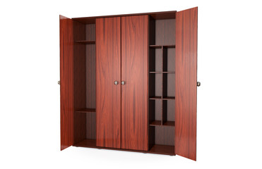 Empty open wooden wardrobe isolated on the whitebackground. 3d illustration