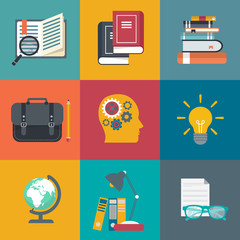 Education icon set. On line learning, tutorials, professional education. Flat vector illustration
