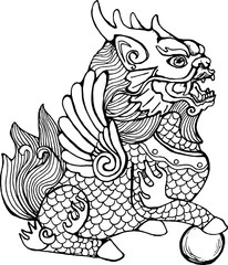 Illustration of cilin. Picture of a mythological creature