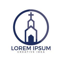 Church building vector logo design. Template logo for churches and Christian organizations cross.