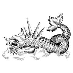 Mythological vintage sea monster. Fragment design of old pirate geographical map