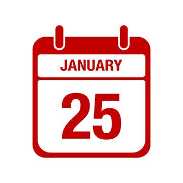 25 January calendar red icon. twenty five