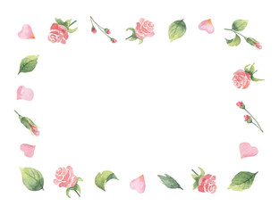 Watercolor vector frame from green leaves, flowers roses and hearts isolated on a white background.