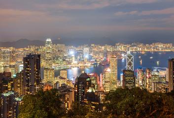 Hong Kong city view from Victoria Peak at night