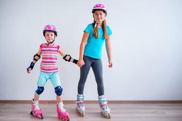 Girls on roller skates