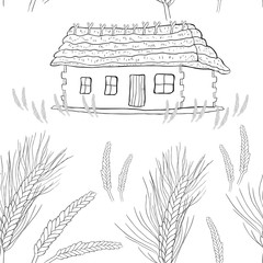 seamless pattern wheat germ coloring of a house with thatched roof.  illustration