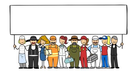 Gruppe Leute mit verschiedenen Berufen hält Schild