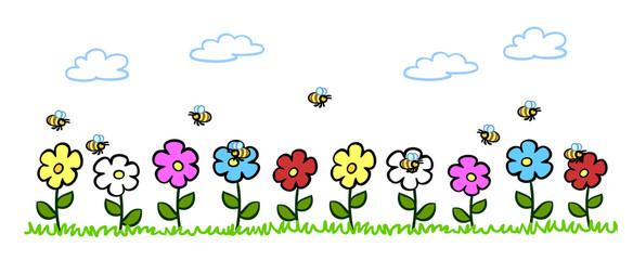 Cartoon Bienen bestäuben Blumen im Garten