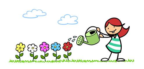 Kind beim Blumen gießen im Garten
