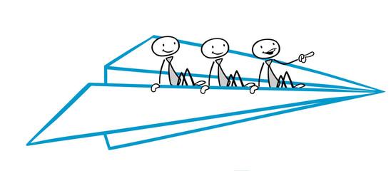 Business Team fliegt im Papierflieger