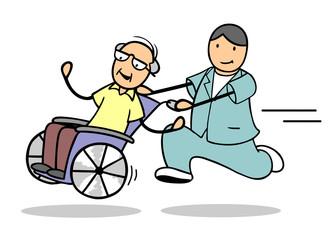 Krankentransport von Senior im Rollstuhl