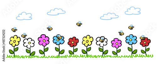 cartoon bienen best uben blumen im garten stockfotos und lizenzfreie bilder auf. Black Bedroom Furniture Sets. Home Design Ideas