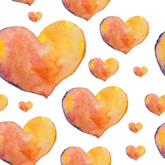 A seamless pattern of beautiful hearts painted in watercolor on the day of St. Valentine or at a wedding