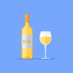Bottle and glass of white wine isolated on blue background. Flat style vector illustration.