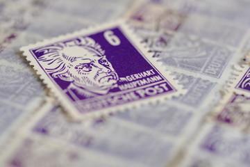 alte Briefmarke Hauptmann