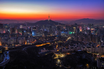 Seoul skyline and twilght cityscape at Seoul city ,South Korea