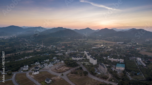 Aerial View From Drone Landscape Of Pak Chong District