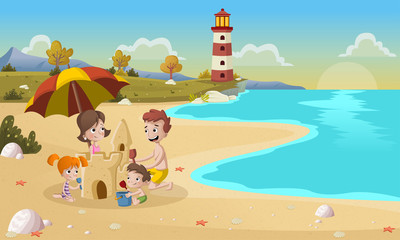 Cartoon family building sand castle on beautiful beach.