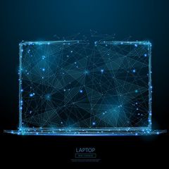 Abstract image of laptop in the form of a starry sky or space, consisting of points, lines, and shapes in the form of planets, stars and the universe. Vector notebook. RGB Color mode