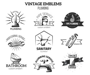 Plumbing Business labels in Vintage style for Logos. Home repair concept. Faucet, pipe vector elements isolated on white background