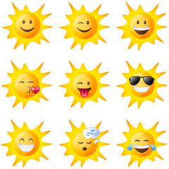 Different facial expressions of the sun