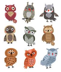 Estores personalizados com sua foto Owls vector set